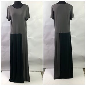 J Jill Maxi Dress Color Block Black Gray Large